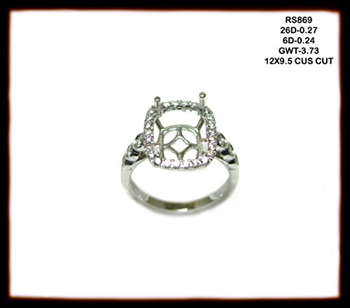 - 12x10 Emerald Cut 14k Yellow Gold and White Diamond Halo Semi-mount (10004AN)