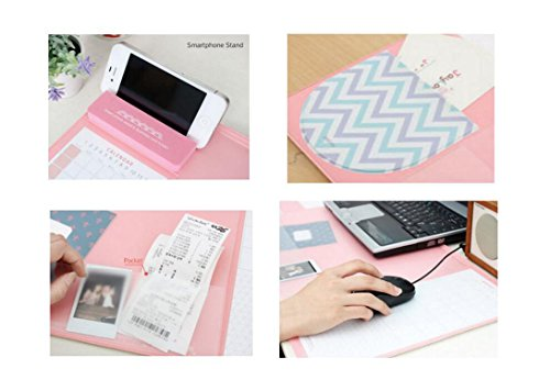 Large Size Mouse Pad Anti-slip Desk Mouse Mat Waterproof Desk Protector Mat with Phone Stand, Note Pad, Pockets, Dividing Rule, Calendar and Pen Holder (Pink) by JYDA (Image #2)