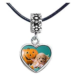 Chicforest Silver Plated Halloween cute dog Jack O lantern Photo Flower Head Dangle Heart Charm Beads Fits Pandora Bracelet