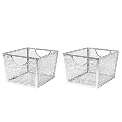 Seville Classics Small Wire Nesting Utility Shelf Storage Basket 2 Piece Set, White -  - living-room-decor, living-room, baskets-storage - 41FG6FukkwL. SS400  -