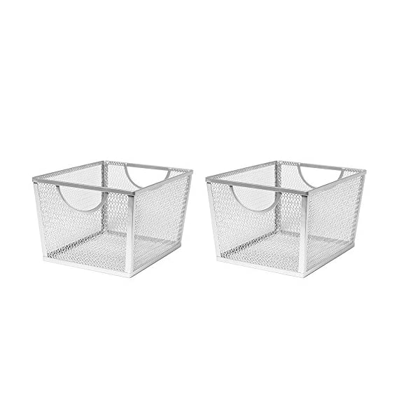 Seville Classics Small Wire Nesting Utility Shelf Storage Basket 2 Piece Set, White -  - living-room-decor, living-room, baskets-storage - 41FG6FukkwL. SS570  -