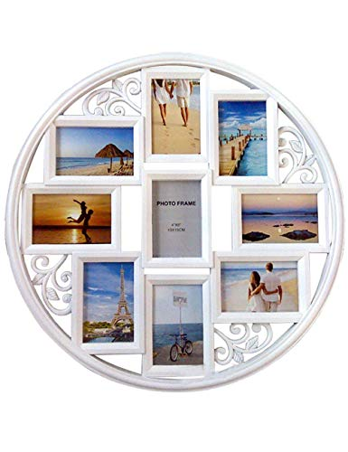 Mkun 4x6 Wall Photo Frame - Round Circular Circle Wall Hanging Picture Photo Collage Frame with Leaf Decoration, 9- Opening ()