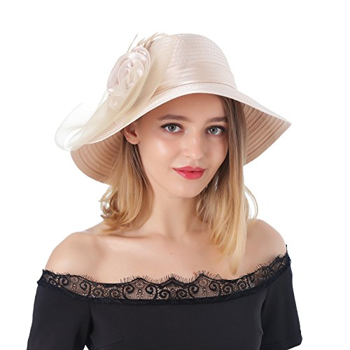 Dantiya Women's Organza Wide Brim Floral Ribbon Kentucky Derby Church Dress Sun Hat (Free, 2 Style-Champagne)