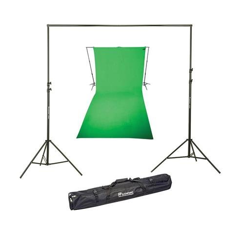 (Westcott 9x20 Feet Wrinkle Resistant Cotton Background, Green - Bundle with Flashpoint 10' Background Support System)