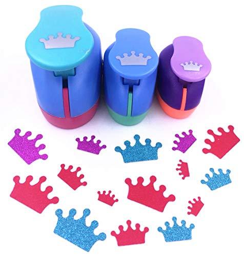 "TECH-P Creative Life 3 PCS (1.5"",1"",5/8"") Crown Shape Craft Punch Scrapbook Paper Cutter Eva Foam Hole Punches"