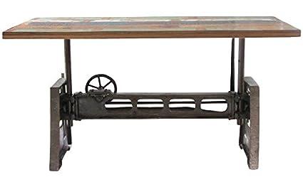 Amazoncom Reclaimed Wood And Iron Adjustable Dining Table Home - Reclaimed wood and iron dining table