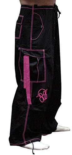 Pants Ufo (Ghast Unisex Cargo Drawstring Contrast Stitching Rave Dance Pants, Black w/Fuchsia Stitching Small)