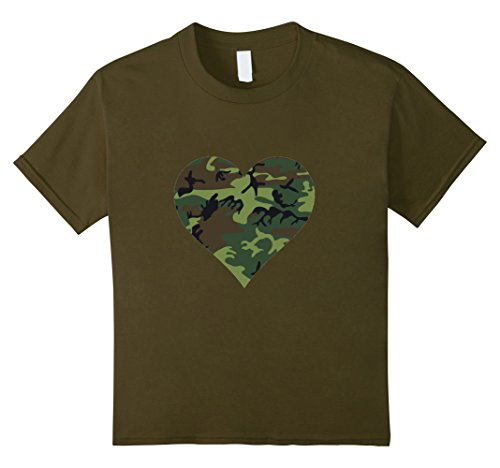 Camo Heart T-shirt - Kids Camouflage Heart t-shirt Cool Camo Design 10 Olive