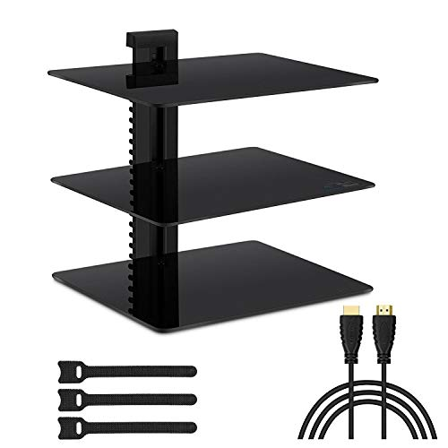 3 Shelf Component Racks - Floating Wall Mounted Shelf AV Mount Shelf - Holds up to 16.5lbs - DVD DVR Component Shelf with Strengthened Tempered Glass - Perfect for DVD Players, TV Box and Cable Box by PERLESMITH