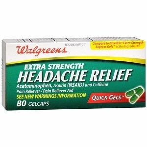 Walgreens Extra Strength soulagement de la céphalée rapides Gelcaps Gels, 80 ch