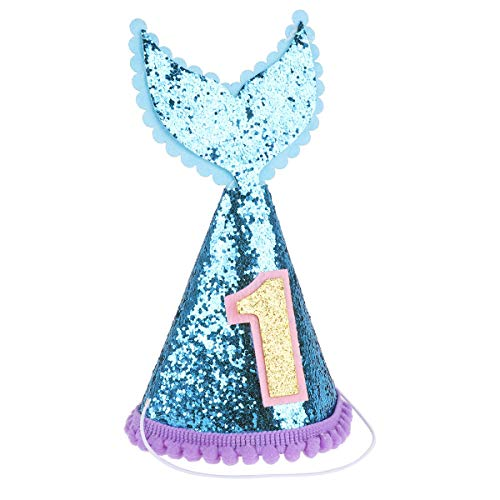 (ranrann Baby Boys & Girls Princess Glittery Mermaid Tail Cone Hats for 1st Birthday Party Decoration Blue&Pink One Size)