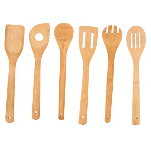 Dhana Bhogya 6 Piece Bamboo Wood Kitchen Utensils: Wooden Spoon And Spatula Set With Unique And Elegant Design, Perfect For Serving, Mixing And Turning, Eco Friendly And Non Stick Cooking Tools - Williams Sonoma Slotted Spatula