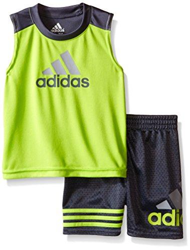 Adidas Baby Boys' Tank and Active Short Set, Semi Solar Slime, 3 Months (Performance Solar Set)
