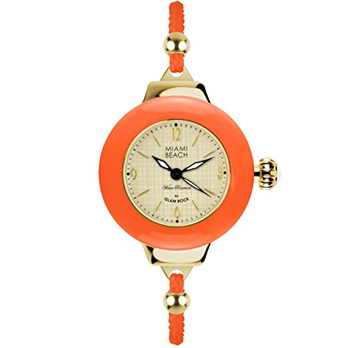 Glam Rock Miami Beach Art Deco collection MBD27184 36mm Stainless Steel Case Pink Nylon Mineral Women's Watch