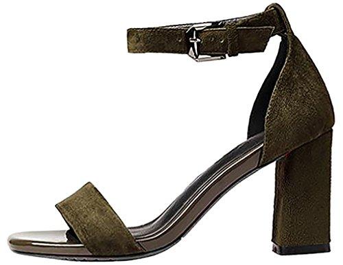 Calaier Mujer Capig Bloquear 6CM Sintético Hebilla Sandalias de vestir Zapatos Verde