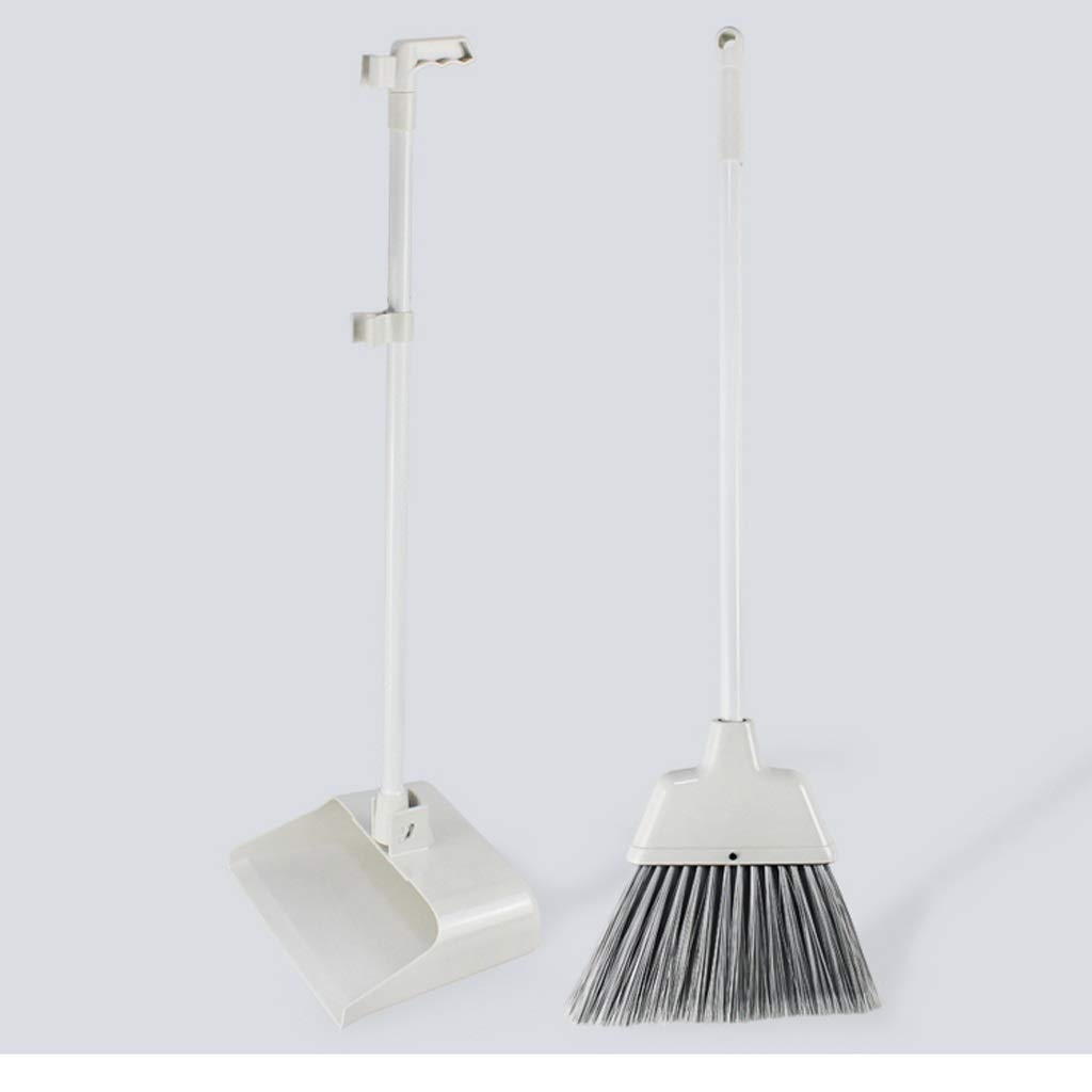 Czlsd Family soft-wool plastic broom combination -32.4/34.6-inch long handle stainless steel single broom trash can combination and dust pot standing grip whisk for group, office. by Czlsd