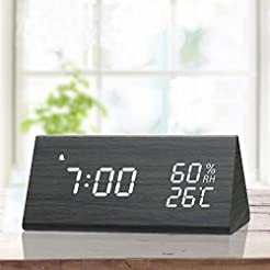 Digital Alarm Clock, with Wooden Electro...
