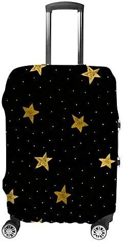 スーツケースカバー 伸縮素材 トランク カバー 洗える 汚れ防止 キズ保護 盗難防止 キャリーカバー おしゃれ ゴールデン 星の絵 ポリエステル 海外旅行 見つけやすい 着脱簡単 1枚入り