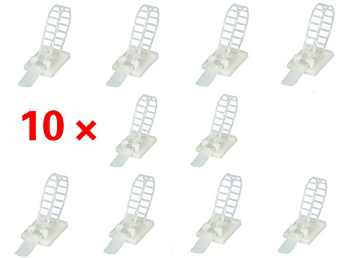 EopZol™ 10x Adjustable Adhesive Cable Straps Cord Manageme