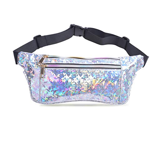 Holographic Fanny Pack for Women, Fashion Cool Fanny Packs for Girls, Waterproof Shiny Waist Pack with Adjustable Belt for Festival, Travel, Hiking, Party Diamond Silver