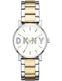 Womens Soho Analog-Quartz Watch with Stainless-Steel Strap, Silver, 18 (· DKNY
