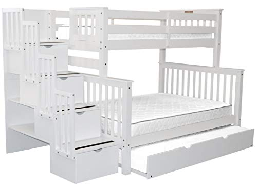 Bedz King Stairway Bunk Beds Twin over Full with 4 Drawers in the Steps and a Twin Trundle, White (White Bunk Beds With Stairs And Trundle)