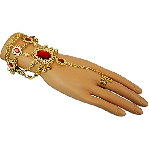 Chain Red Gold Bracelet (Gold Jeweled Adjustable Finger Ring and Slave Hand Chain Bracelet One Size Fits All)