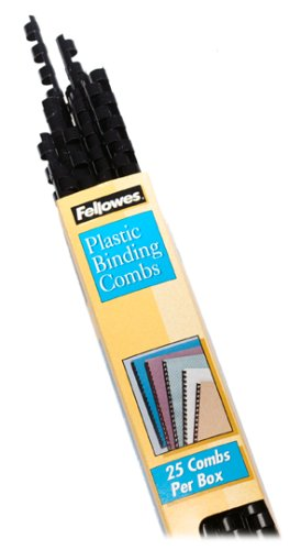 "Fellowes Plastic Binding Combs, Round Back, 5/16"", 40 Sheet Capacity, Black, 25 Pack (52321)"