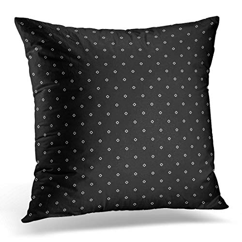 (Emvency Throw Pillow Covers Case Black Rhombuses Contours Pattern Design with Diamonds Checks Ethnic Mosaic Hoops and Loops Artwork White Decorative Pillowcase Cushion Cover for Sofa 16 x 16 Inches)