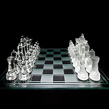 WireScorts Solid Crystal Chess with Checker Board Set Matte and Clear Glass Chess Game