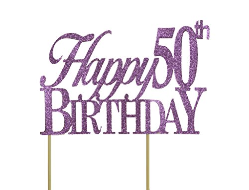 All About Details Purple Happy-50th-birthday Cake Topper