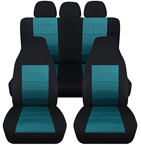 2-Tone Car Seat Covers w 3 Rear Headrest Covers: Black and Teal - Universal Fit - Full Set - Front Buckets & Rear Bench - Option for Airbag/Seat Belt/Armrest/Release/Lever/Split ()