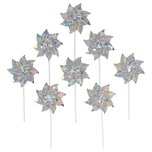 Wholesale In the Breeze Silver Mylar Pinwheel - Sparkly Silver Spinners - Good Animal & Bird Deterrant - 8 Piece Bags for cheap