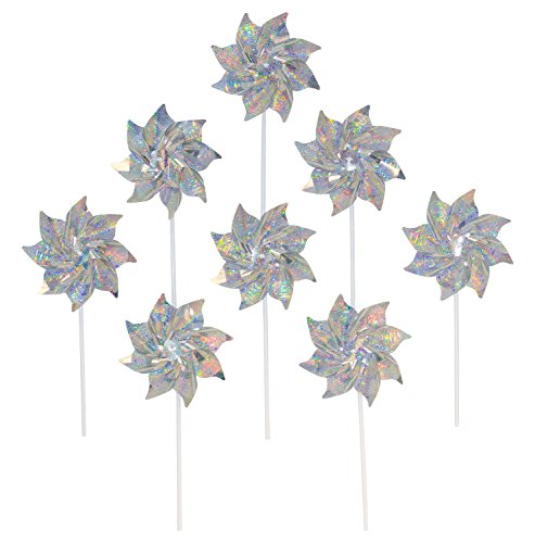 (In the Breeze Silver Mylar Pinwheel - Sparkly Silver Spinners - Good Animal & Bird Deterrant - 8 Piece Bags)