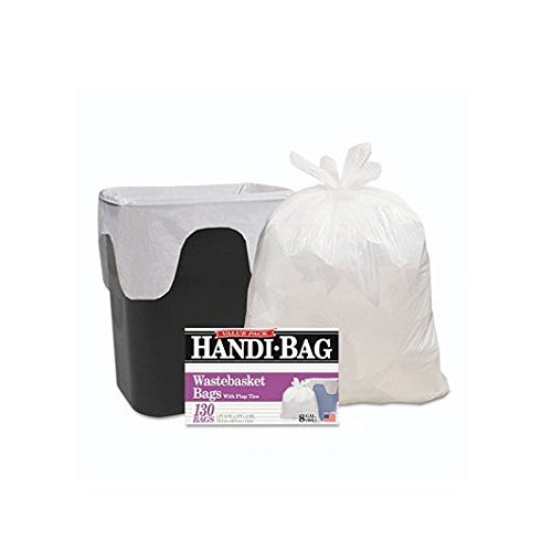 Handi-Bag Super Value Pack, 8gal, .55mil, 22 x 24, White, 130/Box, Sold as 2 Box, 130 Each per Box