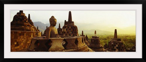 GreatBIGCanvas ''Indonesia, Java, Borobudur Temple'' Entitled Photographic Print with Black Frame, 48'' X 16'' by greatBIGcanvas