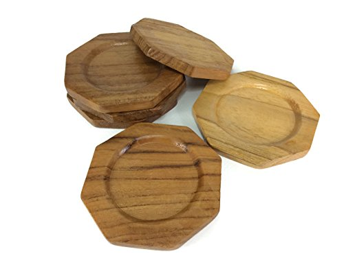 coasters-wood-octagon-saucers-drink-handmade-teak-wood-holders-dispensers-cup-holder-6-pieces