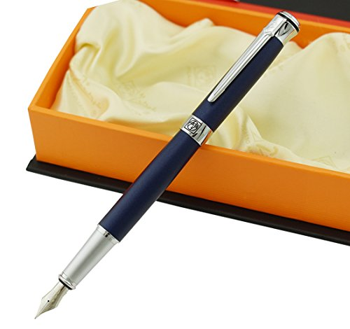 Picasso 903 Fountain Pen Matte Blue Purple Fine Nib Sweden Flower King on Top with Gift Pen Box Set