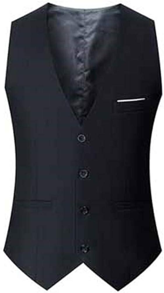 Men'S Classic Vest Sleeveless Slim Fit Chain Dress Suits Casual Male Vest Big Black XXL