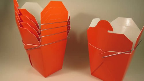 (Orange Chinese Take-out (Favor) Boxes - 100 Count)
