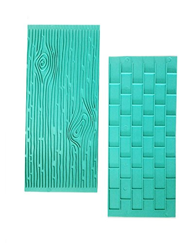 Mikiso 1202 Texture 2-Piece Mold Set Tree Bark and Brick Wall Impression Moulds Gum Paste Impression Mat Fondant Cake Decorating Supplies for Cupcake Wedding Cake Decoration(Blue)