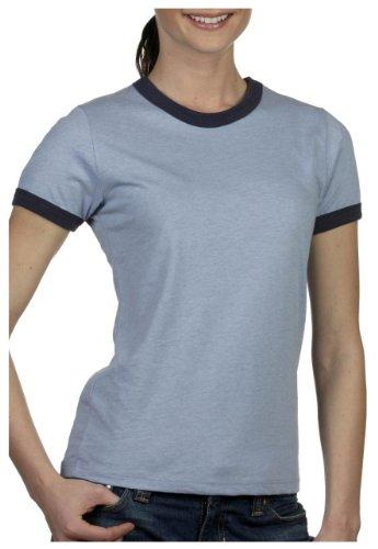 Bella+Canvas Ladies' Heather Ringer Short-Sleeve Jersey Tee - Heather Blue/ Navy - XL