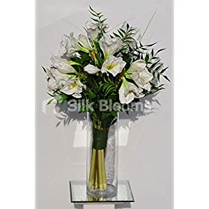 Silk Blooms Ltd Artificial Fresh Touch White Amaryllis Arrangement w/Lush Green Leaves and Grass 119