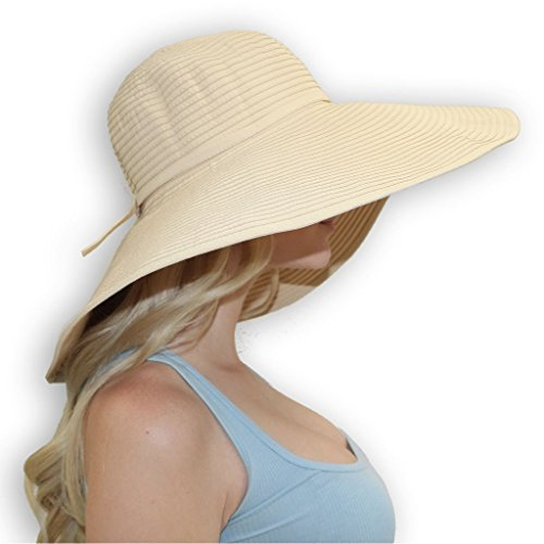 sungrubbies Ribbon Braid 7-Inch Wide Brim Sun Protective Hat. Crushable and Packable Women Hat from (2XLarge, Beige) ()
