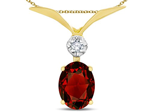 Star K Oval 8x6mm Genuine Garnet V Shaped Pendant Necklace 14 kt Yellow Gold -