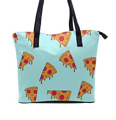 Women Tote-Handbag Leather Pizza Cartoon Pattern Briefcase - Multi-Pocket Tote Shoulder Bag Big Capacity Fashion Top Handle Satchel for Travel Business Shopping
