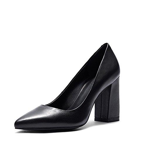 Basique Cuir Talon Sexy Noir Bureau Cuir Pointue Chaussures Gianni Darco Bloc Escarpins Noir Haut Femme wqxBXTnz6