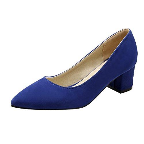 Latasa Kvinna Mode Enfärgad Spetsig Tå Mitten Chunky Klackar Pumpar Mörkblå