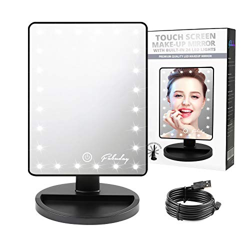 (Fabuday Makeup Mirror with Lights, Lighted Vanity Mirror Light Adjustable, Led Makeup Mirror for Travel, USB and Battery Operated, Color Boxed, Black )
