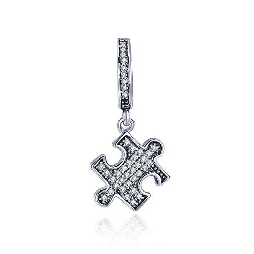 (The Kiss Autism Awareness Puzzle Dangle Enamel Clear CZ 925 Sterling Silver Bead Fits European Charm Bracelet (Clear CZ Dangle))
